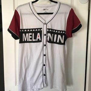 """""""Melanin"""" Jersey style shirt (Size Juniors XL)"""